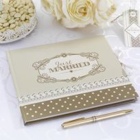 Chic Boutique Wedding Guest Book - Ivory & Gold